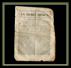 """Copy of the May 15, 1857 issue of """"The Medical Iberia"""", where it already appears as Director Andres del Busto. He was only 24 years old.(photo from todocoleccion.net)"""