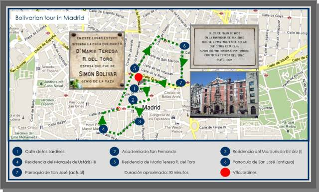 You can go for a lovely walk and visit important spots in Simon Bolivar's stay in Madrid, between 1799 and 1802.