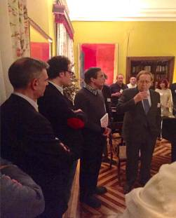 Ramón Tamames, father of the 1978 Spanish Consitution, addressing the founders of the firts Digital Nation. Next to him, José Luis Cordeiro, founder of Singularity University